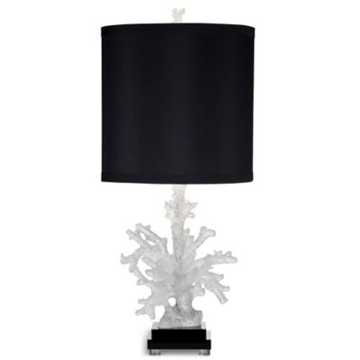 Bassett Mirror Company Oceanna Table Lamp in White with Black Fabric Shade