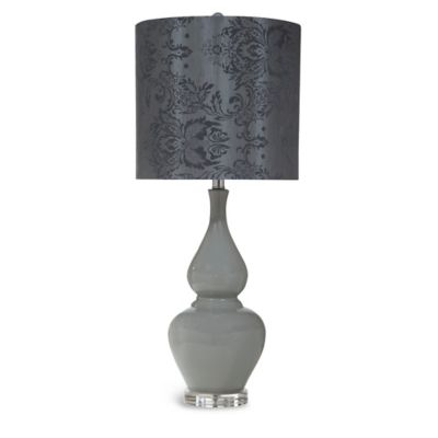 Bassett Mirror Company Olney Table Lamp in Grey with Damask Silk Shade