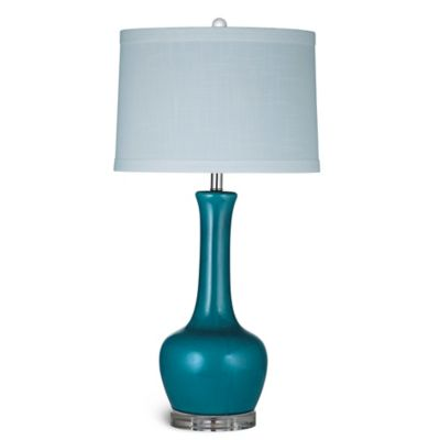 Bassett Mirror Company Blue Kileen Table Lamp in Glossy Blue with Fabric Shade