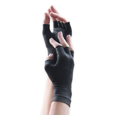Tommie Copper Women's Small Compression Half Finger Gloves in Black