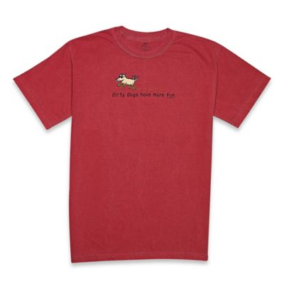 "Teddy the Dog Large ""Dirty Dogs Have More Fun"" Classic Tee in Crimson"
