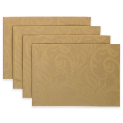 Autumn Scroll Placemat in Gold (Set of 4)