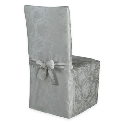 Christmas Ribbons Dining Room Chair Cover in Platinum