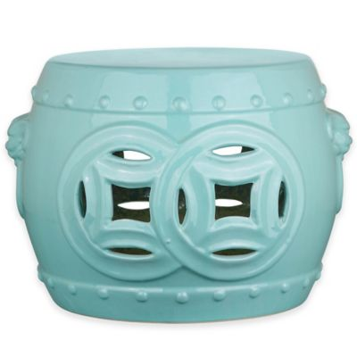 Safavieh Mei Double Coin 12-Inch Garden Stool in Light Blue