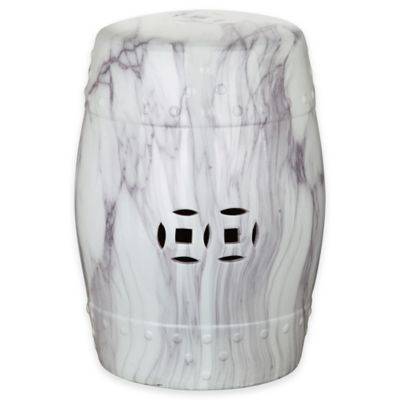 Safavieh Jade Swirl 18-Inch Garden Stool in White