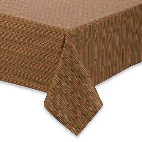 Tuscan Stripe Laminated Fabric Tablecloth and Napkins