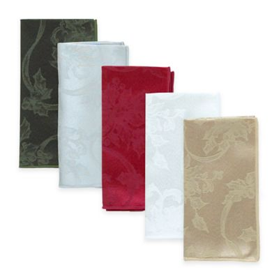 Christmas Ribbons Napkins in Platinum (Set of 4)