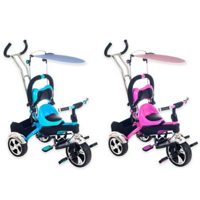 Lil' Rider 2-in-1 Stroller Tricycle Child-Safe Trike Trainer in Pink
