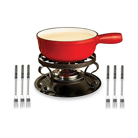 Swissmar® Lugano 9-Piece Red Cheese Fondue Set