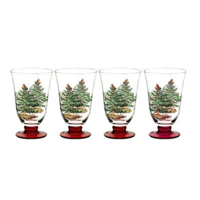 Spode® Christmas Tree All Purpose Glasses in Red (Set of 4)