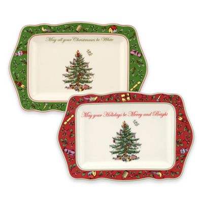 Spode® Christmas Tree Vintage Sentiment Trays (Set of 2)