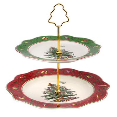 Spode® Christmas Tree Vintage Scalloped 2-Tier Cake Stand
