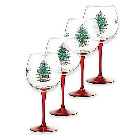 Buy spode christmas tree wine glasses in red set of 4 for Holiday stemware