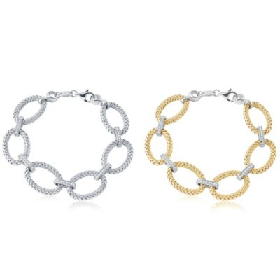 Charles Garnier Paolo Gold-Plated Sterling Silver CZ Station Woven Oval Bracelet