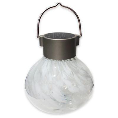 Allsop® Hanging Outdoor Solar Tea Lantern in White