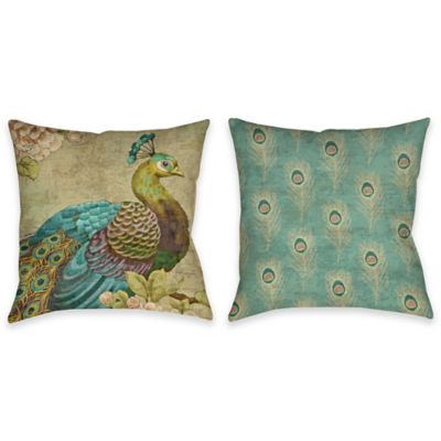 Indian Peacock Indoor/Outdoor Throw Pillow in Multi