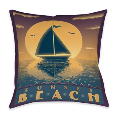 Nautical Sunset Beach Indoor/Outdoor Throw Pillow