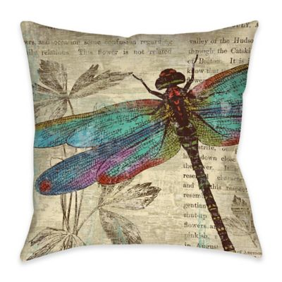 Newsprint Dragonfly Indoor/Outdoor Throw Pillow