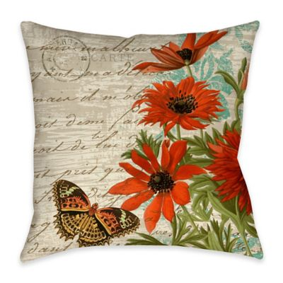 Wildflower Walk 3 Indoor/Outdoor Throw Pillow in Beige