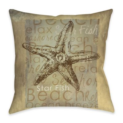 Starfish Indoor/Outdoor Throw Pillow in Tan