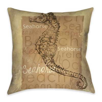 Sea Horse Indoor/Outdoor Throw Pillow in Tan
