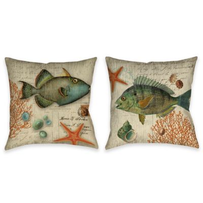 Vintage Seaside Fish Indoor/Outdoor Throw Pillow in Beige