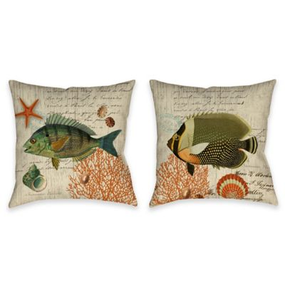 Vintage Seaside Angelfish Indoor/Outdoor Throw Pillow in Beige