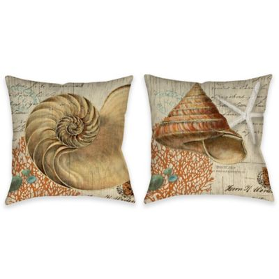 Vintage Seaside Shell Indoor/Outdoor Throw Pillow in Beige