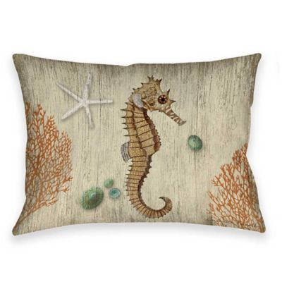 Vintage Seaside Seahorse Indoor/Outdoor Throw Pillow in Beige