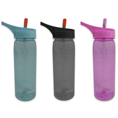 Eco Vessel® WAVE 25 oz. Water Bottle with Flip Straw Top in Black