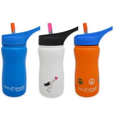 Eco Vessel® FROST 13 oz. Insulated Kids Straw Top Bottle in Black