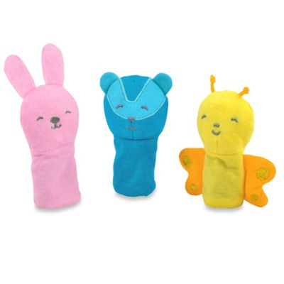 green sprouts® by i play.® 3-Pack Bunny, Badger, and Bee Finger Puppets