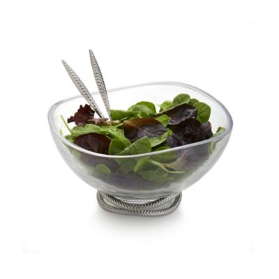 Nambe Braid Glass Salad Bowl with Servers