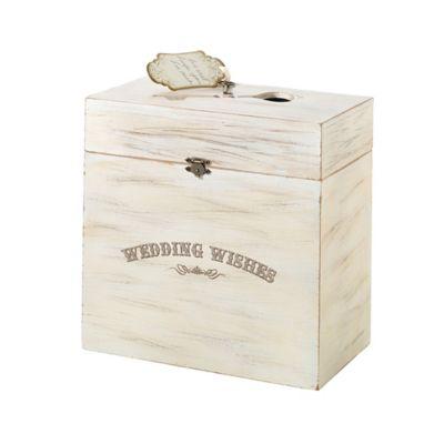 "Lillian Rose™ ""Wedding Wishes"" Wooden Key Card Box in Cream"
