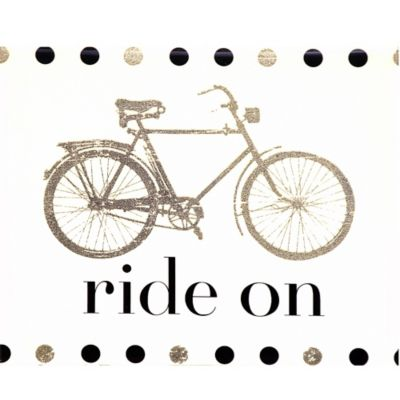 "Metallic ""Ride On"" Bicycle Canvas Wall Art"