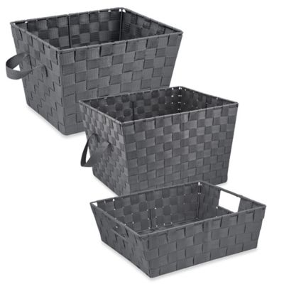 Shelf Woven Storage Tote in Grey