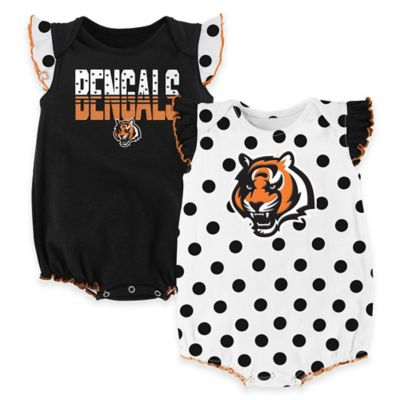 NFL Cincinnati Bengals Polka Fan Size 12M 2-Piece Creeper Set