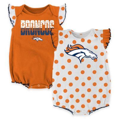 NFL Denver Broncos Polka Fan Size 12M 2-Piece Creeper Set