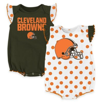 NFL Cleveland Browns Polka Fan Size 0-3M 2-Piece Creeper Set