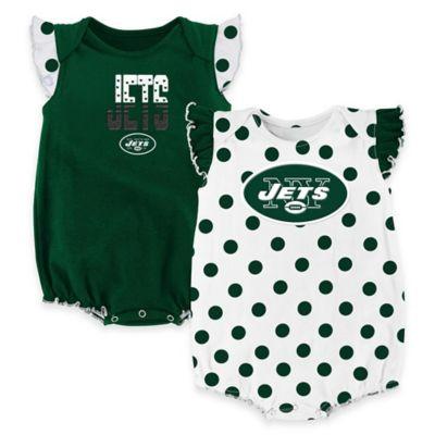 NFL New York Jets Polka Fan Size 12M 2-Piece Creeper Set