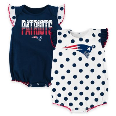 NFL New England Patriots Polka Fan Size 24M 2-Piece Creeper Set