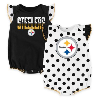 NFL Pittsburgh Steelers Polka Fan Size 18M 2-Piece Creeper Set