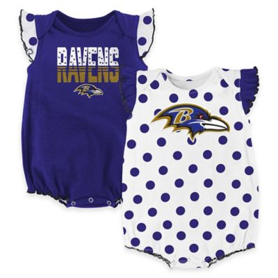 NFL Baltimore Ravens Polka Fan Size 0-3M 2-Piece Creeper Set