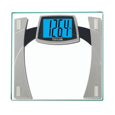 Taylor Digital Glass Bath Scale with Large Readout in White/Silver