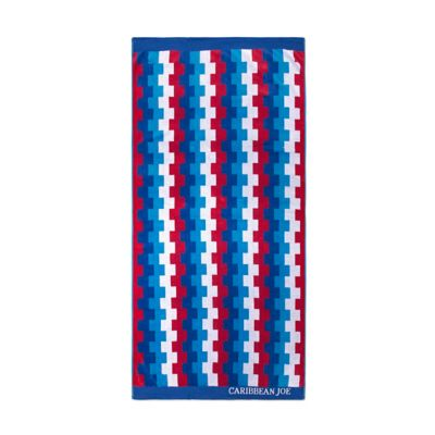 Caribbean Joe Square Stripe Jacquard Beach Towel in Blue