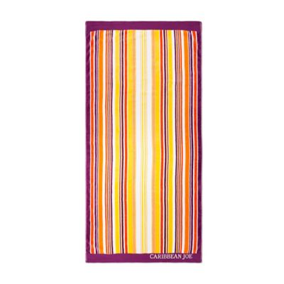 Caribbean Joe Sunset Stripe Jacquard Beach Towel in Multi