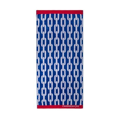 Caribbean Joe Chain Yarn Dyed Jacquard Beach Towel in Blue