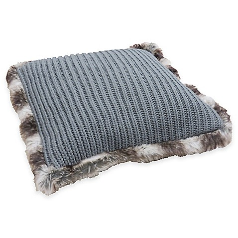 Grey Knit Throw Pillow : Buy Chunky Sweater Knit Fur-Trimmed Throw Pillow in Grey from Bed Bath & Beyond