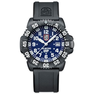 Luminox® Scott Cassell Men's 44mm Special Edition Blue Dial Watch with Black Rubber Strap