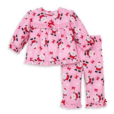 Little Me® Size 12M 2-Piece Santa Long-Sleeve Pajama Set in Light Pink